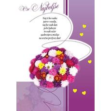 Voščilo, Čestitka, ikebana iz marjetic, vijolična, Naj ti bo vsako jutro v veselje - bleščice/zlatotisk