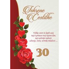 Voščilo, čestitka - iskrene čestitke, veliko sreče, za 30 - bleščice/zlatotisk