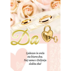 Voščilo Čestitka Poroka Srce Ključ Bleščice Zlatotisk