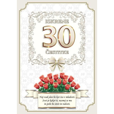 Voščilo, čestitka - vrtnice rdeče, naj vsak dan bo, za 30 - bleščice/zlatotisk