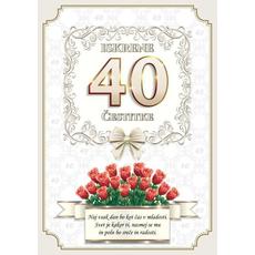 Voščilo, čestitka - vrtnice rdeče, naj vsak dan bo, za 40 - bleščice/zlatotisk
