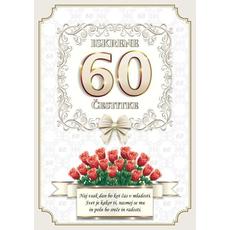 Voščilo, čestitka - vrtnice rdeče, naj vsak dan bo, za 60 - bleščice/zlatotisk