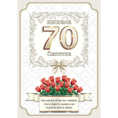 Voščilo, čestitka - vrtnice rdeče, naj vsak dan bo, za 70 - bleščice/zlatotisk