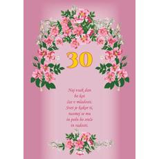 Voščilo, čestitka - roza, rožice, naj vsak dan, za 30 let - bleščice/zlatotisk