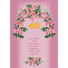 Voščilo, čestitka - roza, rožice, naj vsak dan, za 40 let - bleščice/zlatotisk