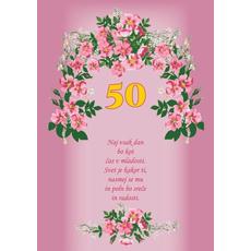 Voščilo, čestitka - roza, rožice, naj vsak dan, za 50 let - bleščice/zlatotisk