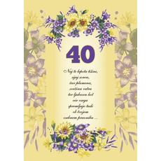 Voščilo, čestitka - rumena, rožice, naj te lepota tišine, za 40 - bleščice/zlatotisk