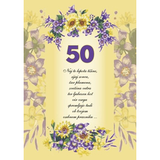 Voščilo, čestitka - rumena, rožice, naj te lepota tišine, za 50 - bleščice/zlatotisk
