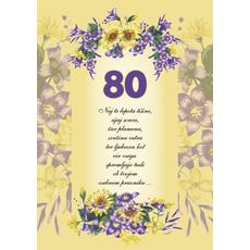 Voščilo, čestitka - rumena, rožice, naj te lepota tišine, za 80 - bleščice/zlatotisk