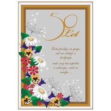 Voščilo, Čestitka, siva, cvetje, 50 let, leta pridejo in grejo - bleščice/zlatotisk