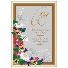 Voščilo, Čestitka, siva, cvetje, 60 let, leta pridejo in grejo - bleščice/zlatotisk