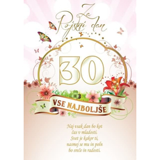 Voščilo, čestitka - vse najboljše, naj vsak dan bo, za 30 - bleščice/zlatotisk