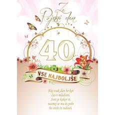 Voščilo, čestitka - vse najboljše, naj vsak dan bo, za 40 - bleščice/zlatotisk