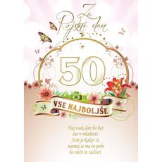 Voščilo, čestitka - vse najboljše, naj vsak dan bo, za 50 - bleščice/zlatotisk