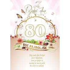 Voščilo, čestitka - vse najboljše, naj vsak dan bo, za 80 - bleščice/zlatotisk