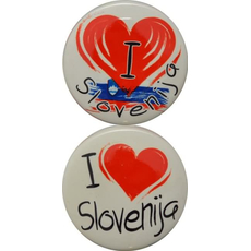 Slovenija, Magnet okrogel 65mm, I love Slovenija, sort.