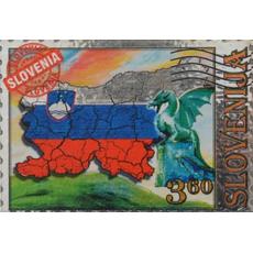 Slovenija, Magnet znamka velika, zastava, 7.5x5cm