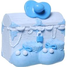 Hranilnik skrinja z dudo in copatki, za rojstvo, polymasa, modra, 9x11cm