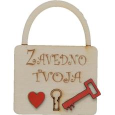 """Ključavnica lesena, """"Zavedno tvoja"""", 6x8cm"""