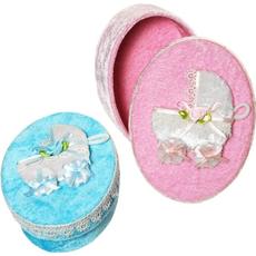 Škatlica darilna, ovalna, za rojstvo otroka, roza/modra, 5.5x13cm