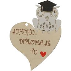 """Srček lesen, """"Juhuhu… diploma je tu"""", 8x8cm"""