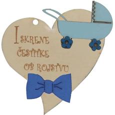"""Srček lesen, """"Iskrene čestitke ob rojstvu"""" z modrim vozičkom, 8x8cm"""
