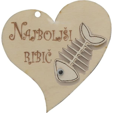"Srček lesen, ""Najboljši ribič"", 8x8cm"