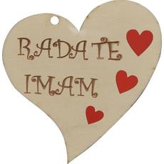 """Srček lesen, """"Rada te imam"""", 8x8cm"""