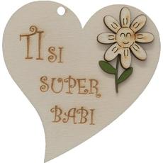 "Srček lesen, ""Ti si super babi"", 8x8cm"