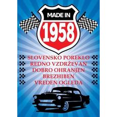 Voščilo, čestitka modra, avto, made in 1958, bleščice/zlatotisk