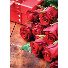 Voščilo, čestitka - rdeča, vrtnice - bleščice/zlatotisk
