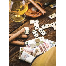 Voščilo, čestitka - rjava, whiskey, cigaro, domine in denar - bleščice/zlatotisk