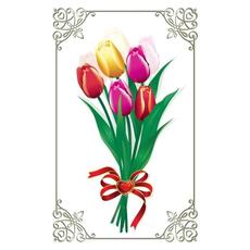 Voščilo Čestitka Šopek Barve Tulipani Bleščice