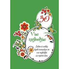Voščilo, čestitka - zelena, vse najboljše, želim ti veliko…, 50 - bleščice/zlatotisk