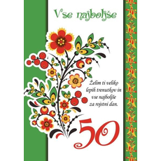 Voščilo, čestitka - zeleno-bela, vse najboljše, želim ti veliko…, 50 - bleščice/zlatotisk