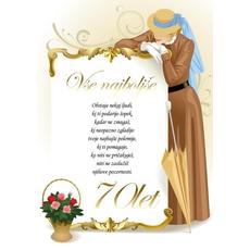 Voščilo, čestitka - ženska v rjavi obleki, vse najboljše, 70 - bleščice/zlatotisk