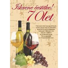 Voščilo, čestitka zlata, motiv vino, za 70 let, bleščice/zlatotisk