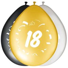 Baloni barvni (zlati, srebrni, črni) iz lateksa , 18, 8kom, 30cm