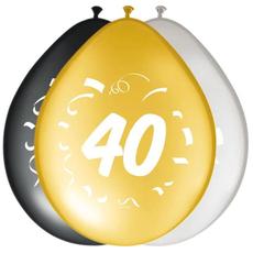 Baloni barvni (zlati, srebrni, črni) iz lateksa , 40, 8kom, 30cm