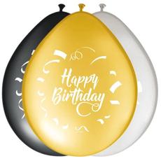 Baloni barvni (zlati, srebrni, črni) iz lateksa , Happy Birthday, 8kom, 30cm