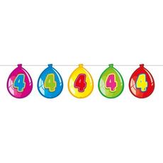 Girlanda z baloni  s številko 4, 10m, 15 balonov