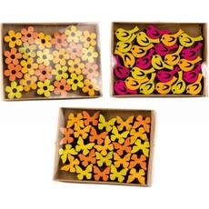 Lesena dekoracija - metuljček/rožica, ptiček, 2cm