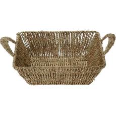 Košara pletena z ročaji, kvadratna, 26x26x8cm
