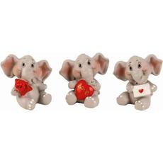 Slonček, držeč pismo/vrtnice/srček, polymasa, 3.3cm, sort.