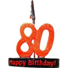 """Številka z bleščicami """"80"""", s priponko, 9.5cm"""