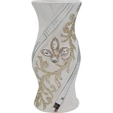 Vaza dekorativna okrogla, belo/zlata, 20cm
