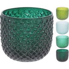 Vaza steklena, dekorativna, za suho cvetje,  9.5x10cm,sort.