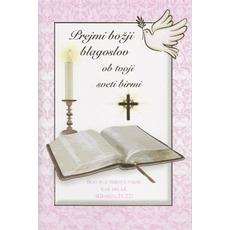 Voščilo, čestitka ob birmi, prejmi božji blagoslov ob tvoji sveti birmi - pink, 16.5x24.5cm