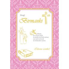 Voščilo, čestitka, Sveta Birma, roza, dragi Birmanki - bleščice/zlatotisk