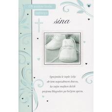 Voščilo, čestitka, za krst, ob svetem krstu vajinega sinka, 16.5x24.5cm